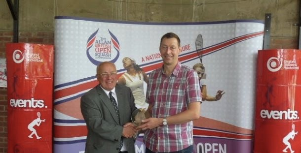 Colin Payne receives his British Open Over-50 trophy