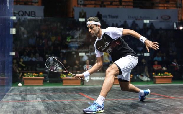 Top seed Mohamed Elshorbagy in action