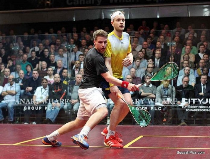 Charles Sharpes in recent action against James Willstrop at Canary Wharf. Image courtesy of www.squashpics.com