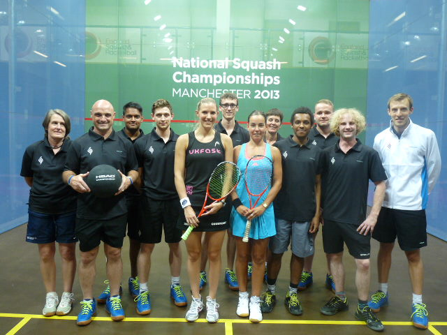 Laura Massaro and Jenny Duncalf with the Manchester coaches