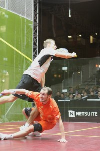 Action from last year's final as Gregory Gaultier beats Nick Matthew