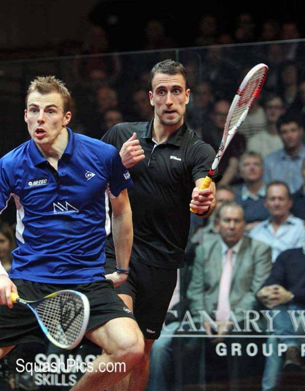 Nick Matthew and Peter Barker in action at this year's Canary Wharf Classic, where Barker emerged triumphant to reach the final