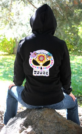 Skull appliques are great for the back of a hoodie or denim jacket.