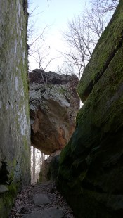 balanced boulder at Giant City State Park