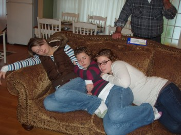 Sisters, family photo, Thanksgiving, nap