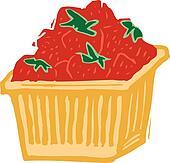 basket strawberries clipart eps