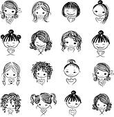 curly hair clip art and illustration