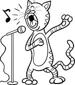 Clipart of singing animals set for coloring book k19640710