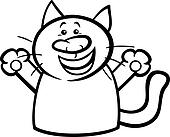 Clip Art of sick cat cartoon coloring page k21452017