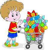 shopping boy clip buyer trolley supermarket clipart illustration cart food money fotosearch gograph royalty print purchasing interested poster quality drawings