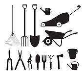 Clipart of Gardener with rake in garden, contour k6375461