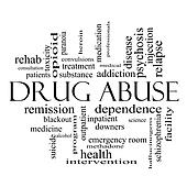 Stock Photo of Drug Abuse Word Cloud Concept in black and