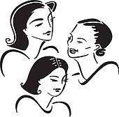 Clipart of three women putting together a quilt jhe0021