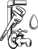 Clipart of , elements, faucet, occupations, plumbing, sign