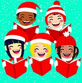 clip art of happy children singing
