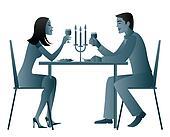 romantic dinner two stock illustration