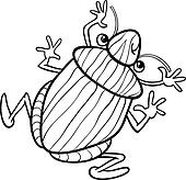 Clipart of caterpillar insect cartoon for coloring book