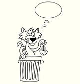 Clipart of A cartoon cat with smelly fish k10322844