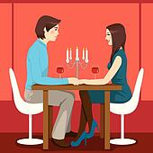romantic dinner date illustrations