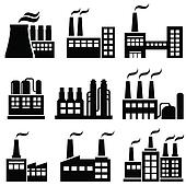 Clipart of Industrial buildings, factories and power