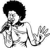 Clip Art of illustration, lineart, singer, sing, singing