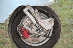Serious stopping power on Janine's Lambretta, Bethanga 2014