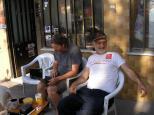 Morley, with Mehmet Avar, proprietor of Kuzgun Moto Adventures.