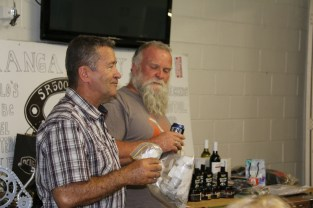 Jeff and Andy draw raffle prizes, Bethanga 2015