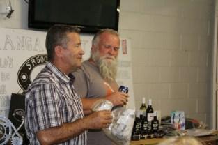 Jeff and Andy draw raffle prizes, Bethanga 2015