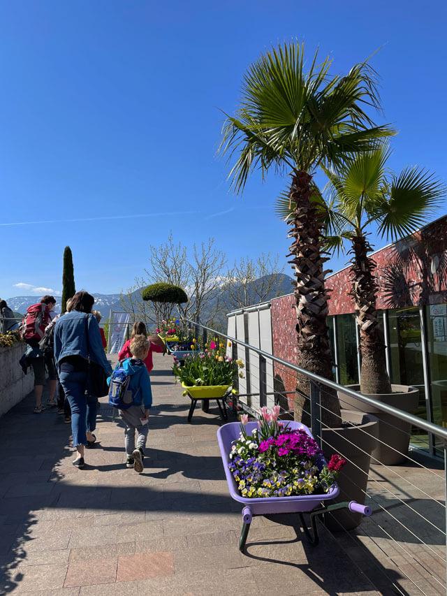 Carriole colorate con fiori sono all'ingresso dei giardini Trauttmansdorff