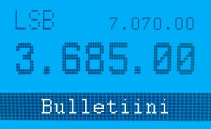 Bulletiinitaajuudet ovat 3685 kHz ja 7070 kHz.