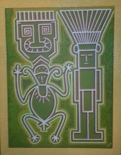 Winston van der Bok, 'Transformation - Werehpai hieroglyphs', acrylic on canvas, 70x90cm, 2017 - USD 475 / PHOTO Marieke Visser, 2017