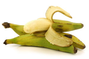 fresh still unripe plantain (baking) bananas