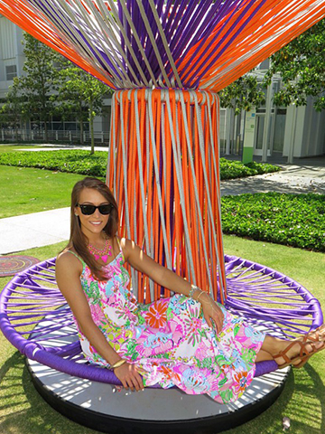 Stacy found the coolest bench that matched her dress in front of the High Museum