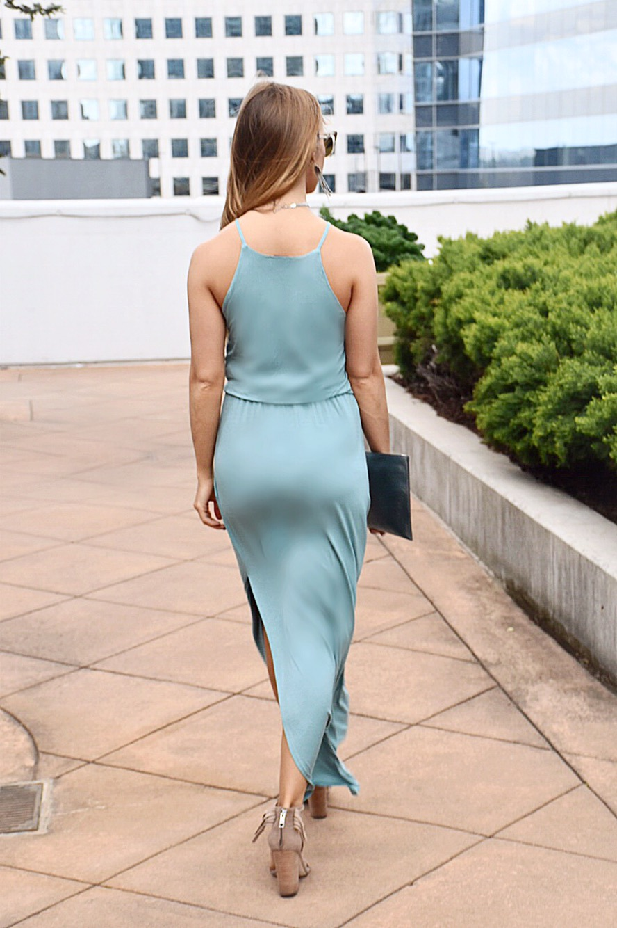 blue maxi dress with a side slit