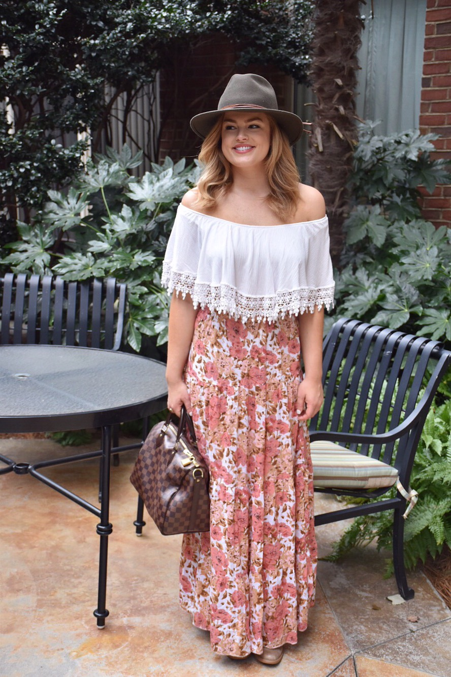 Early Fall Floral skirt outfit