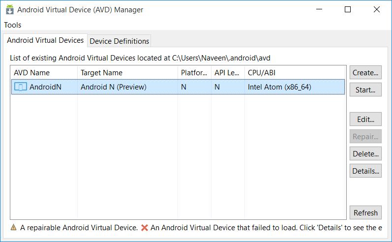 android-n-start-avd