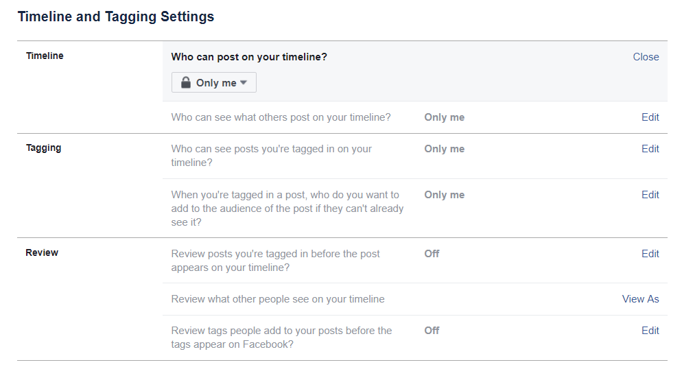 Set Timeline and Tagging Privacy Settings on Facebook