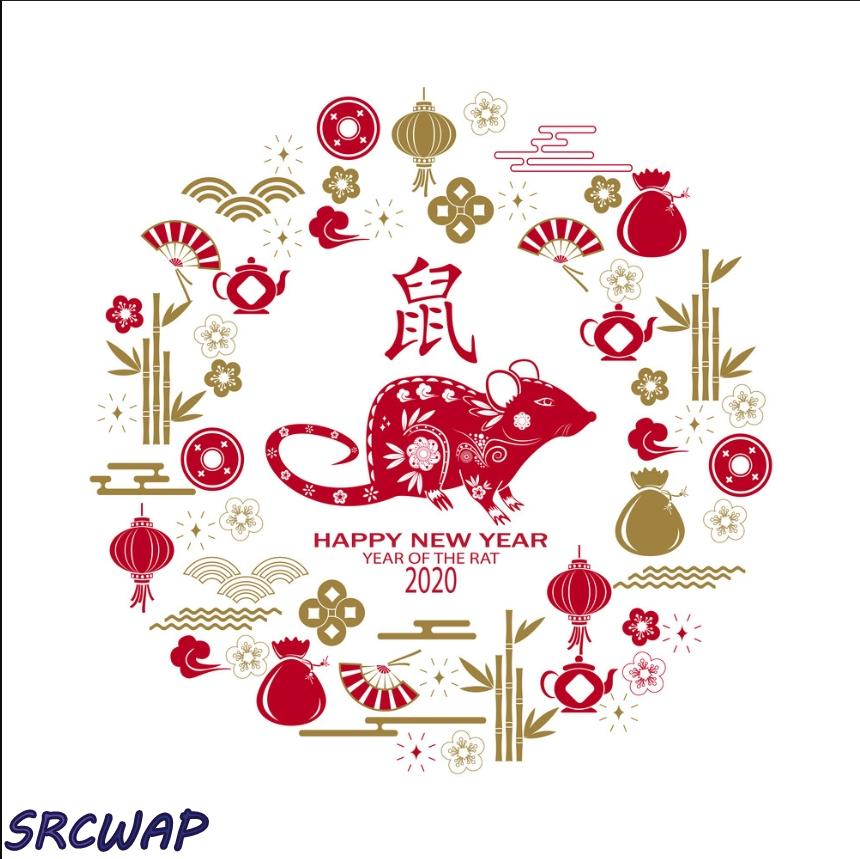 Happy chinese new year 2021 card with rat chinese Vector Image