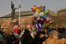 A lot of colorful balloons, hearts, rabbits ...