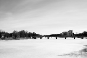 View of Karlstads Konferens Center and the frozen river Clare