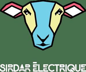 Logo sirdar électrique : une tête hybride entre mouton et androïde