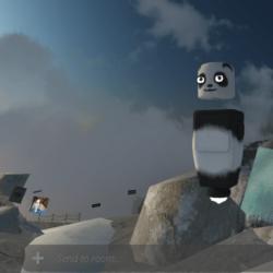Un avatar de panda se tient sur un glacier