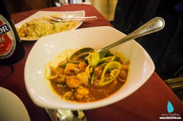 Young Chow & Thai hot garlic prawns