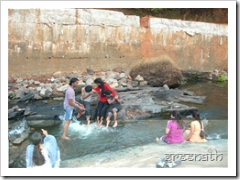 Playing in the stream at Kollur