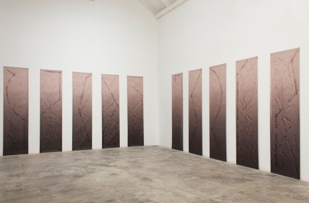 Plot (Installation view) UV ink on vinyl 47.5cms x 205cms each 2013