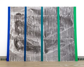 """Sleep/Fall"", Photocopies on Corrugated Plastic; ""Slump"", Clay, Sand and Iron on Rubber, Aluminum tubes, Measuring tape; ""Projections (1964/2014)"", Photocopies on Corrugated Plastic"
