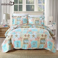 Beach Theme 3-Piece Cotton Quilt Set With Blue Seashell ...
