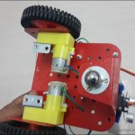 Bottom-View-Of-Robot-Showing-DC-Motors-And-Caster-Wheel