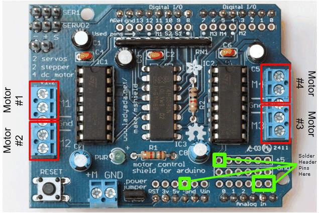 Solder Header Pins on Adafruit Motor Shield V1 To Attach Ultrasonic Sensor